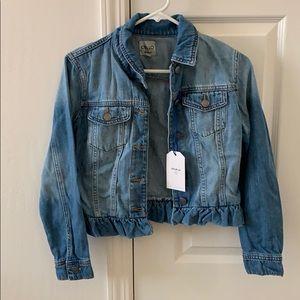 Ruffle denim jacket